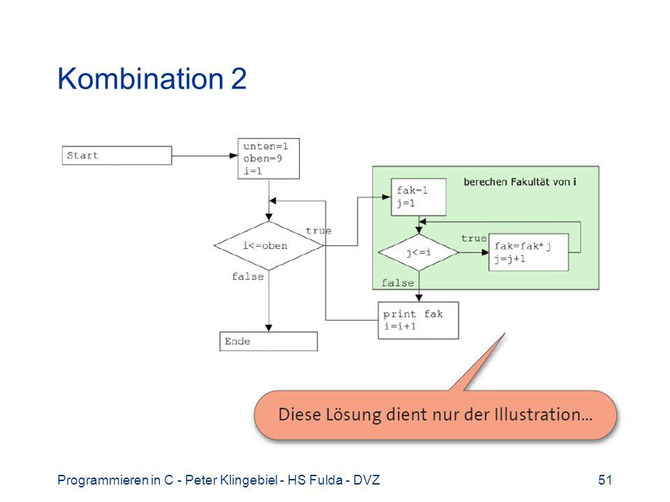 Kombination 2 Programmieren in C - Peter Klingebiel - HS Fulda - DVZ