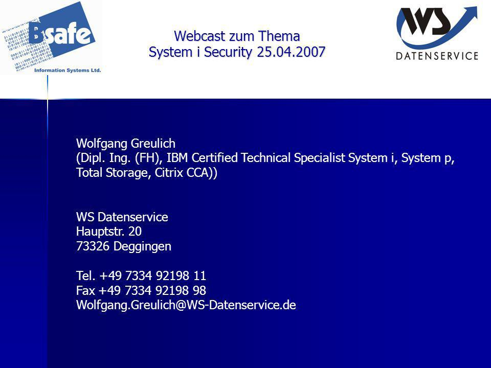 Webcast zum Thema System i Security 25.04.2007