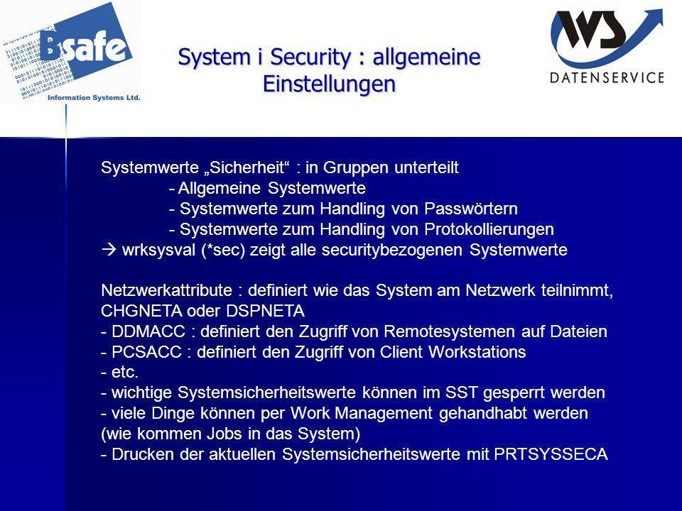 System i Security : allgemeine Einstellungen