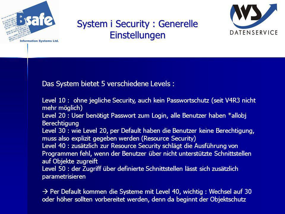 System i Security : Generelle Einstellungen