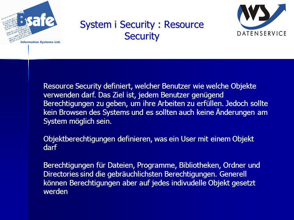 System i Security : Resource Security