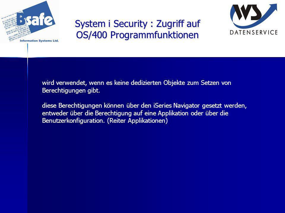 System i Security : Zugriff auf OS/400 Programmfunktionen