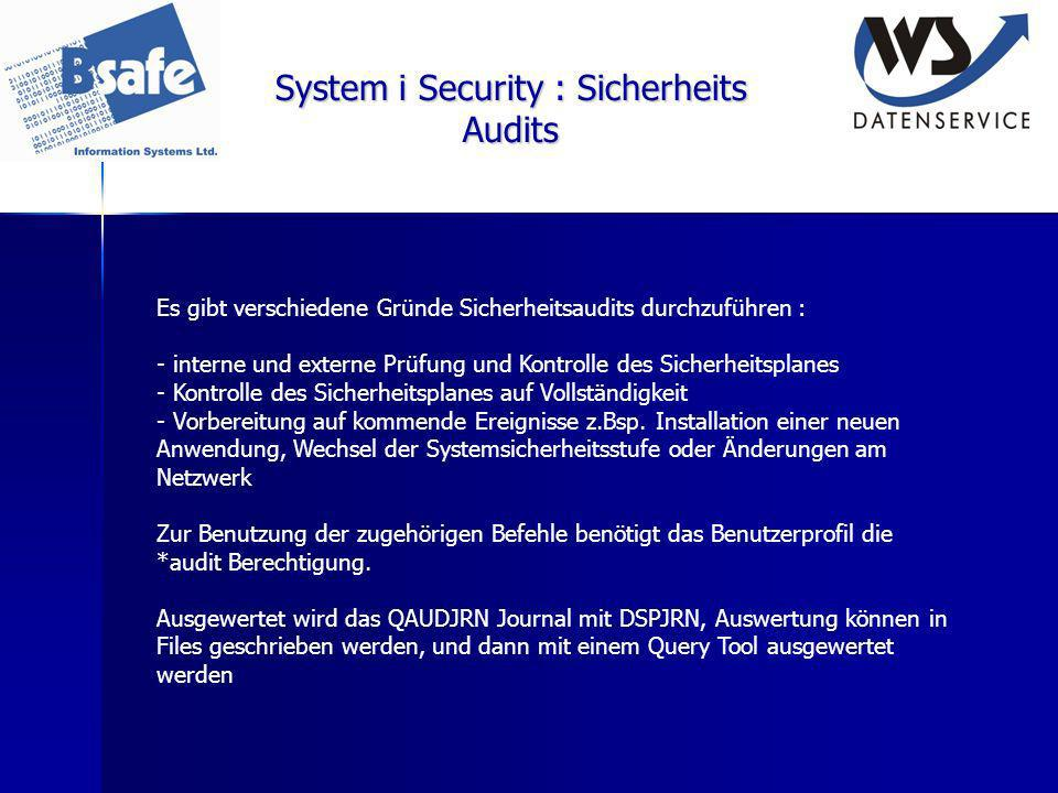 System i Security : Sicherheits Audits