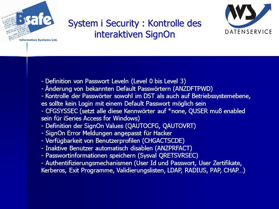 System i Security : Kontrolle des interaktiven SignOn