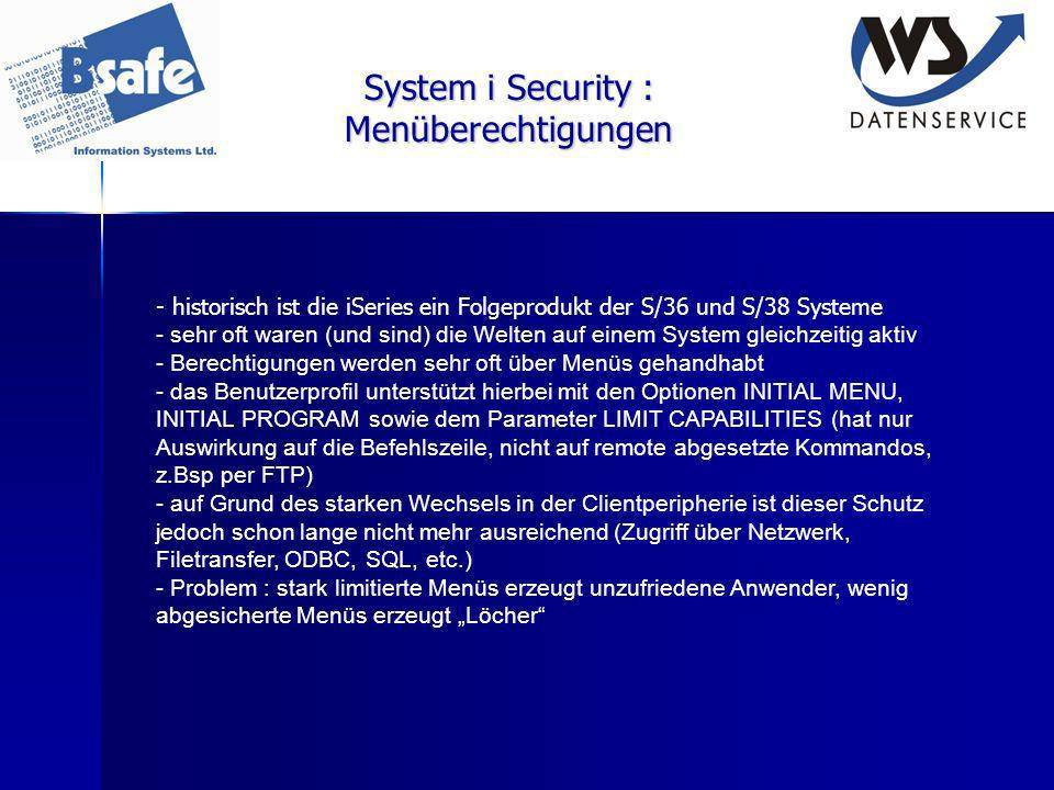 System i Security : Menüberechtigungen