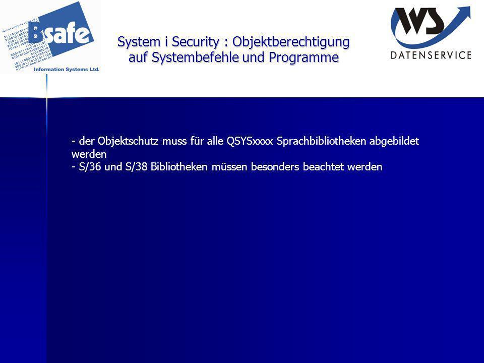 System i Security : Objektberechtigung auf Systembefehle und Programme