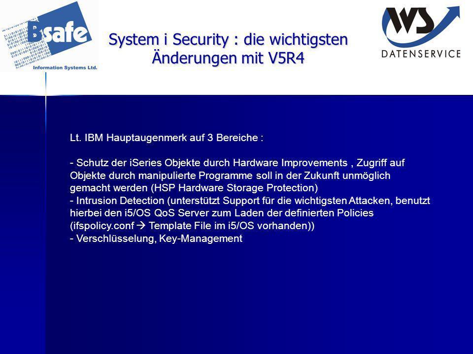 System i Security : die wichtigsten Änderungen mit V5R4
