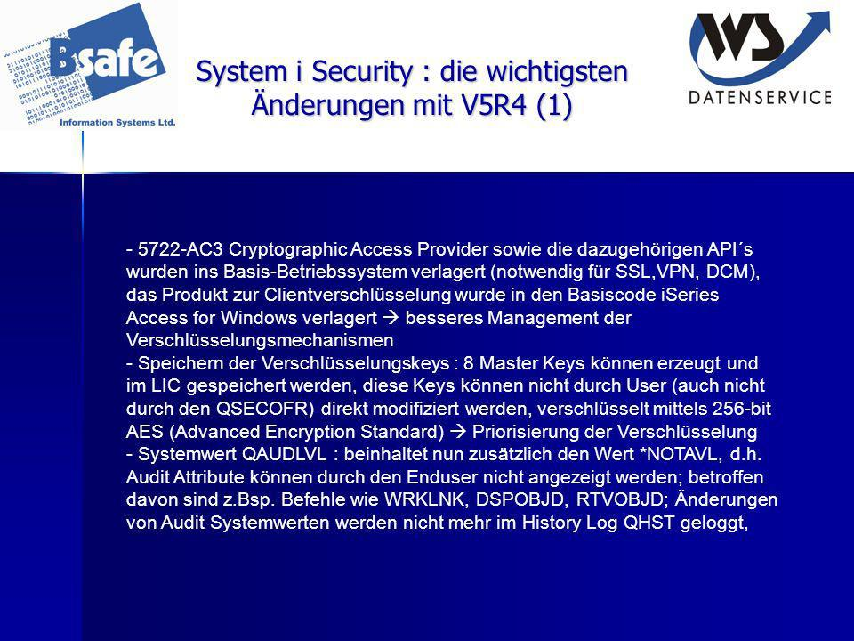 System i Security : die wichtigsten Änderungen mit V5R4 (1)