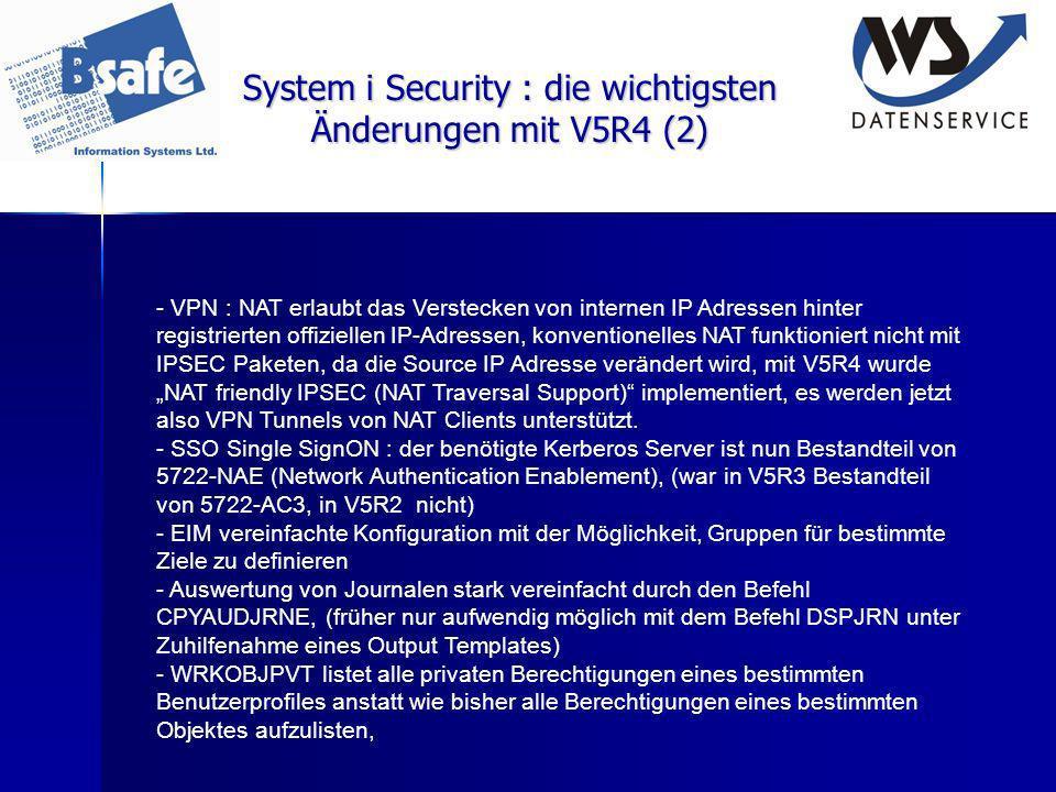 System i Security : die wichtigsten Änderungen mit V5R4 (2)