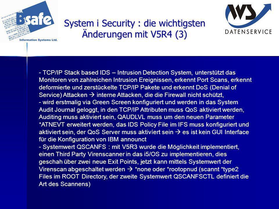 System i Security : die wichtigsten Änderungen mit V5R4 (3)