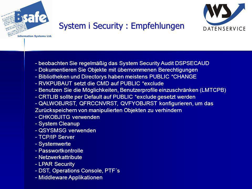 System i Security : Empfehlungen