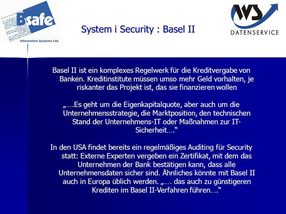 System i Security : Basel II