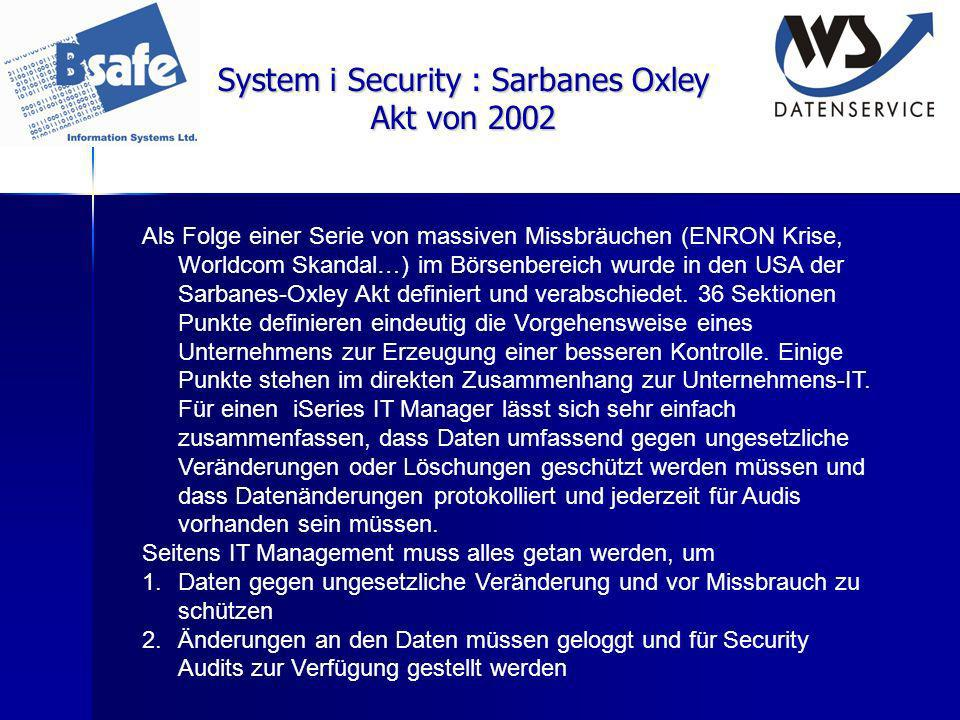System i Security : Sarbanes Oxley Akt von 2002