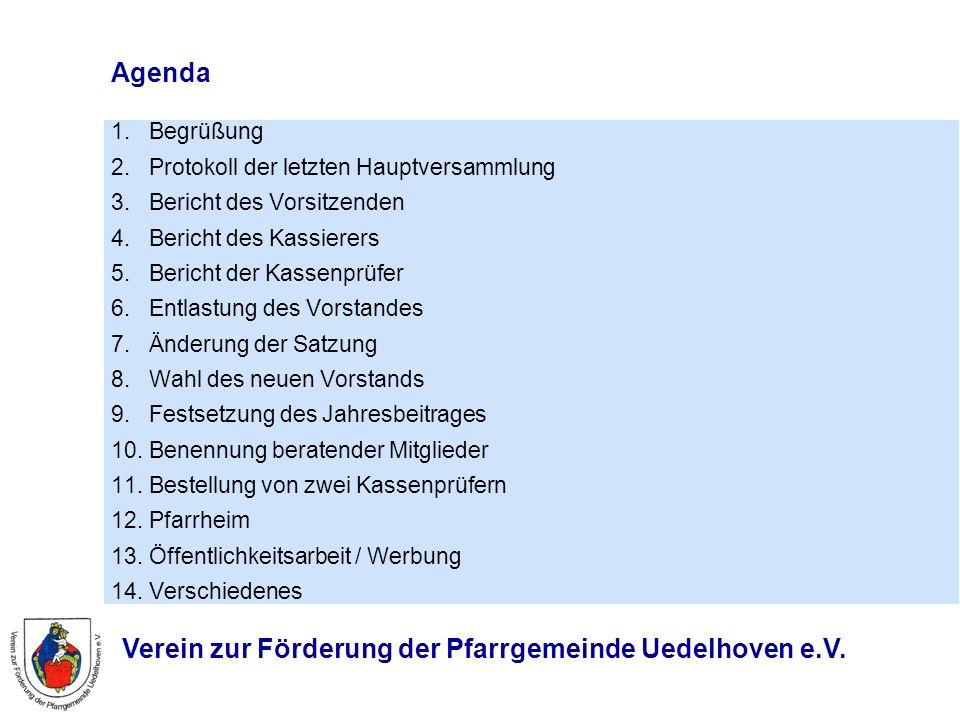 Agenda 1. Begrüßung 2. Protokoll der letzten Hauptversammlung