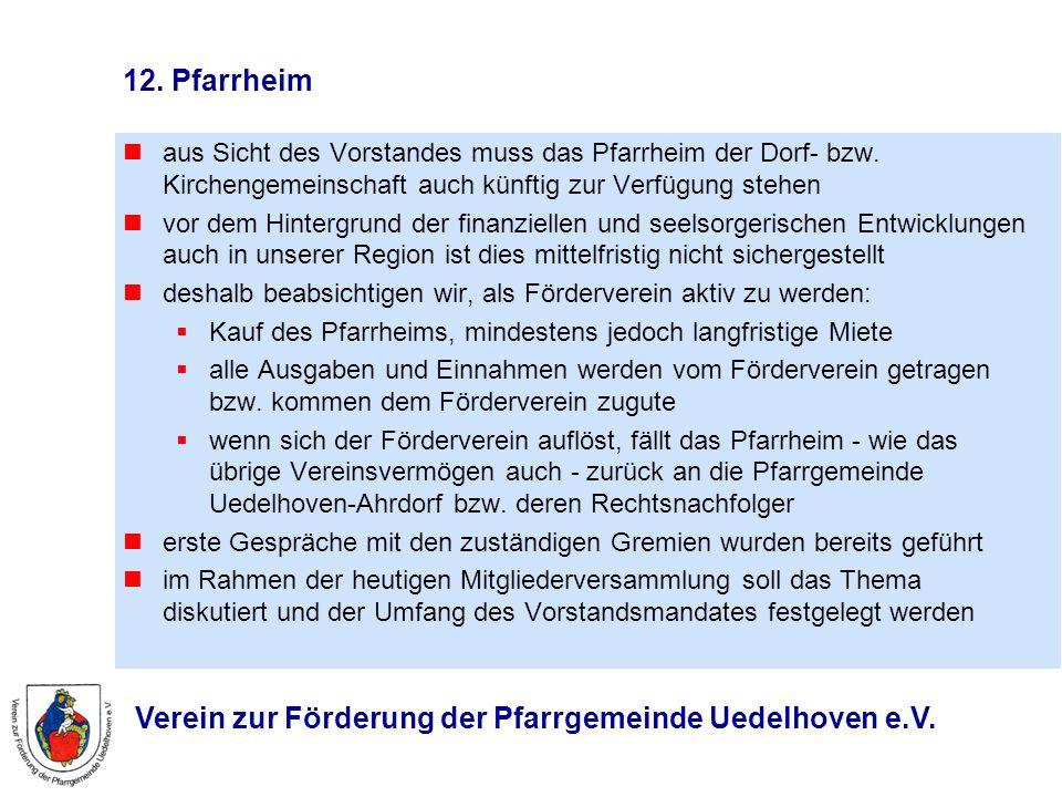 12. Pfarrheim aus Sicht des Vorstandes muss das Pfarrheim der Dorf- bzw. Kirchengemeinschaft auch künftig zur Verfügung stehen.