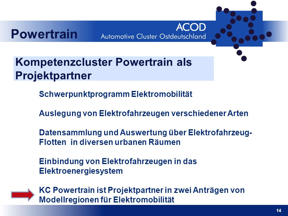Kompetenzcluster Powertrain als Projektpartner