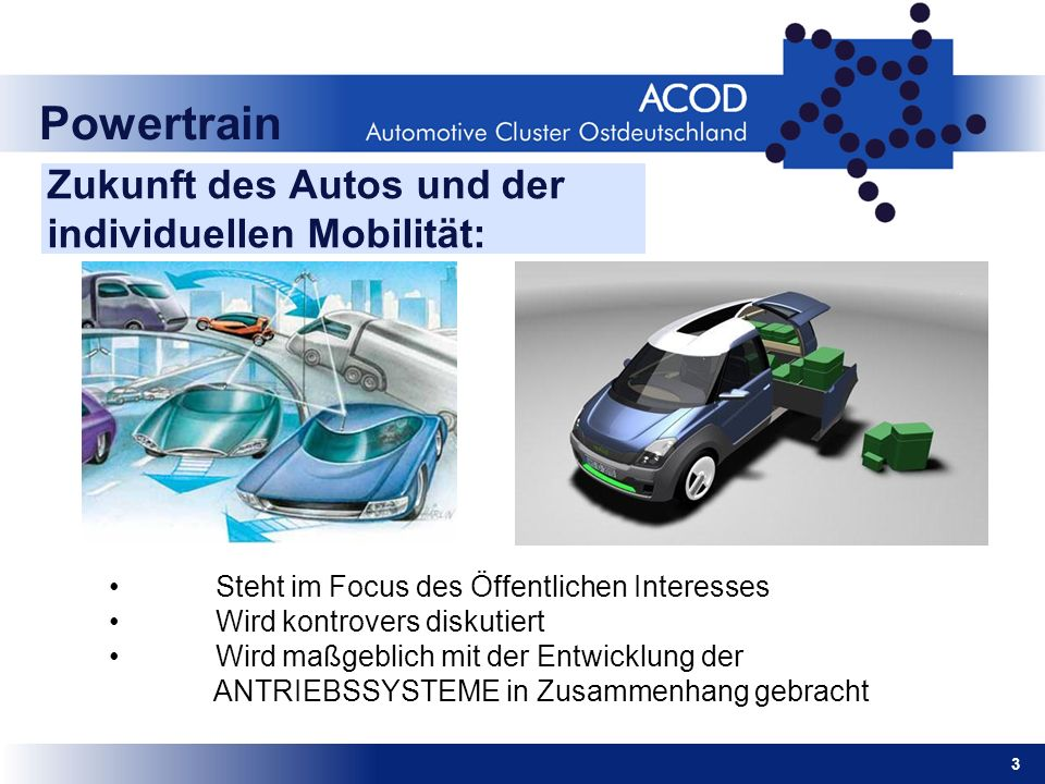 Powertrain Zukunft des Autos und der individuellen Mobilität: