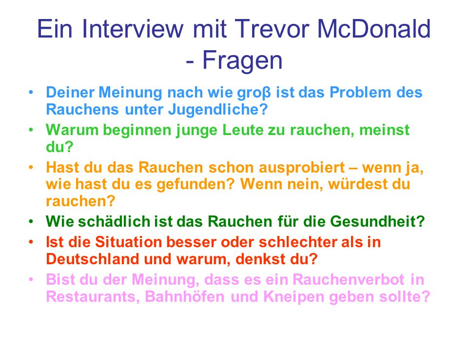 Ein Interview mit Trevor McDonald - Fragen