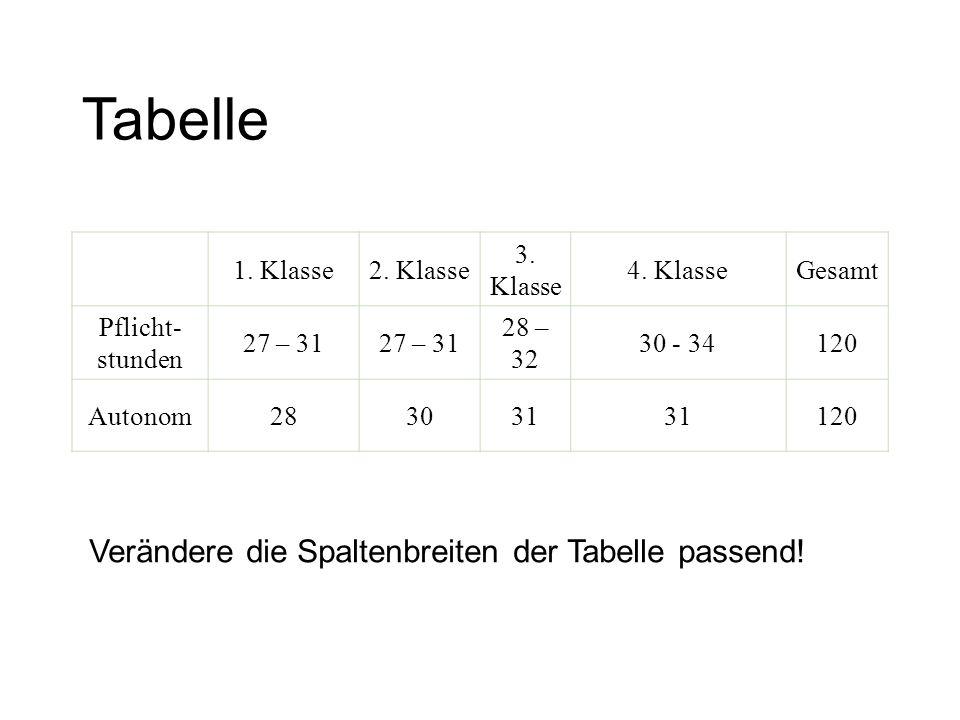 Tabelle Verändere die Spaltenbreiten der Tabelle passend! 1. Klasse