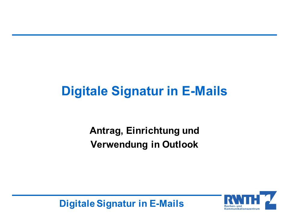 Digitale Signatur in E-Mails