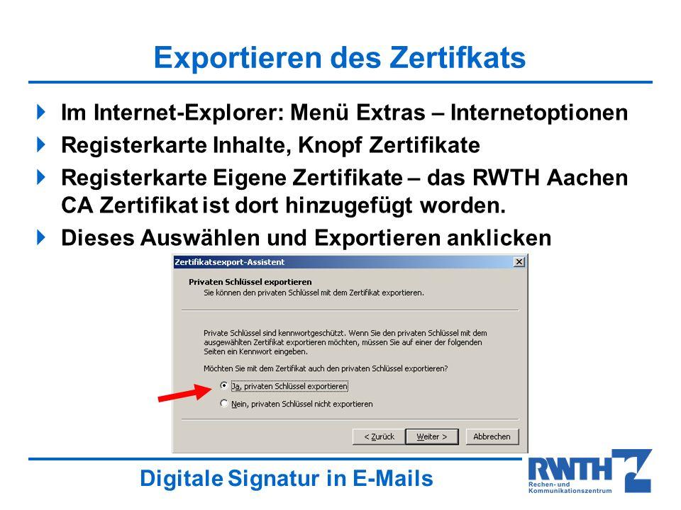 Exportieren des Zertifkats