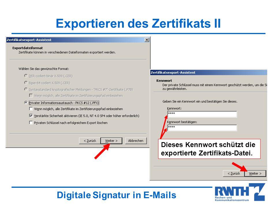 Exportieren des Zertifikats II