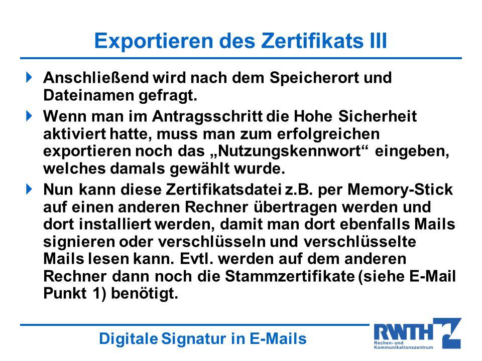 Exportieren des Zertifikats III