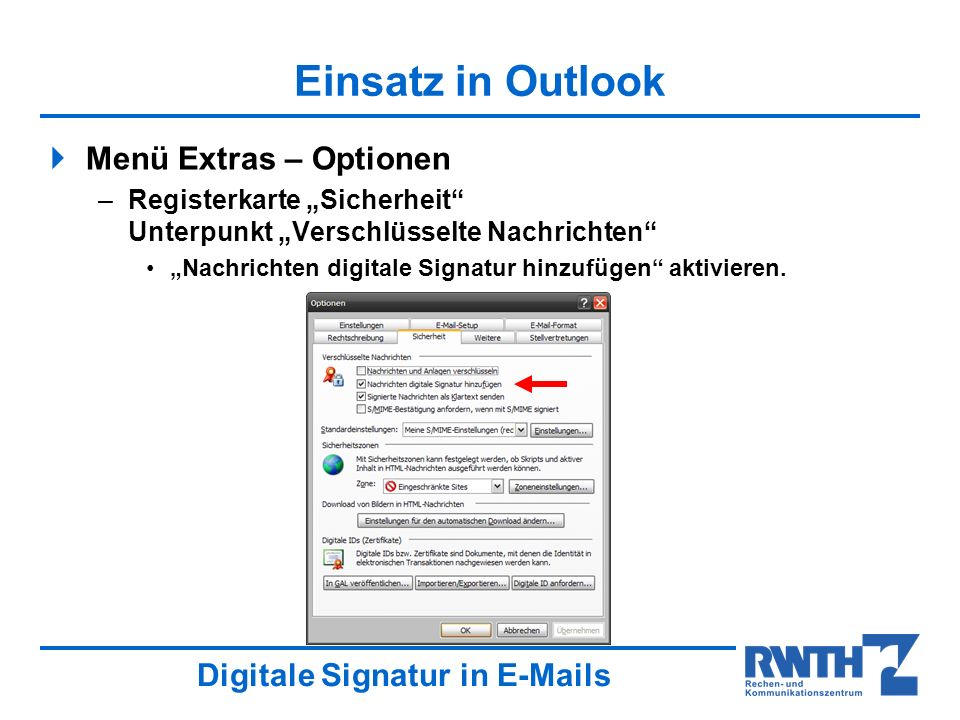 Einsatz in Outlook Menü Extras – Optionen