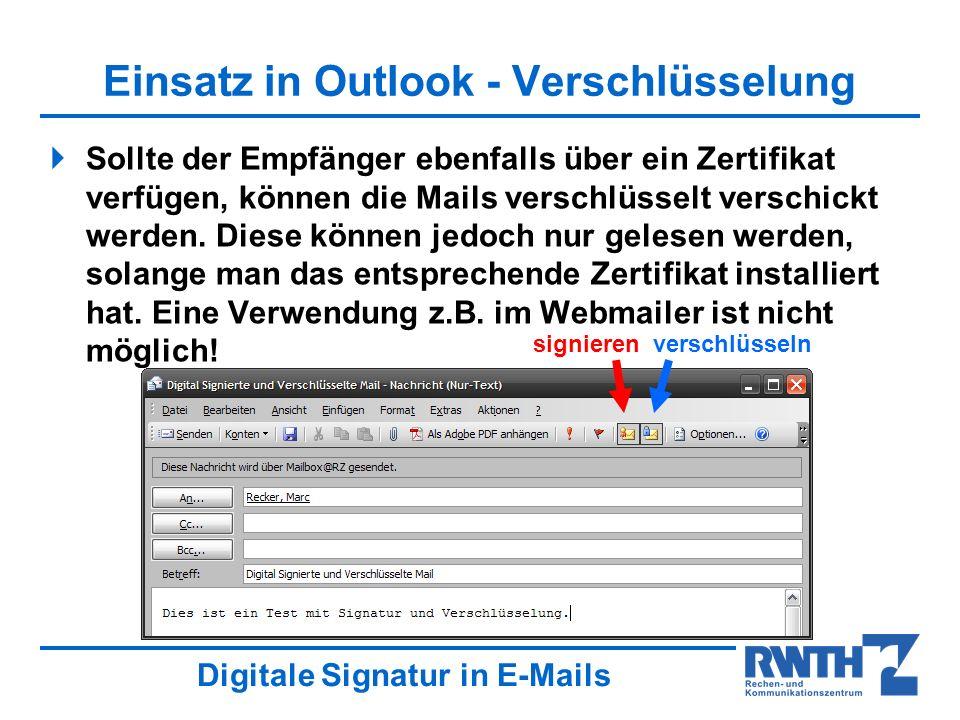 Einsatz in Outlook - Verschlüsselung