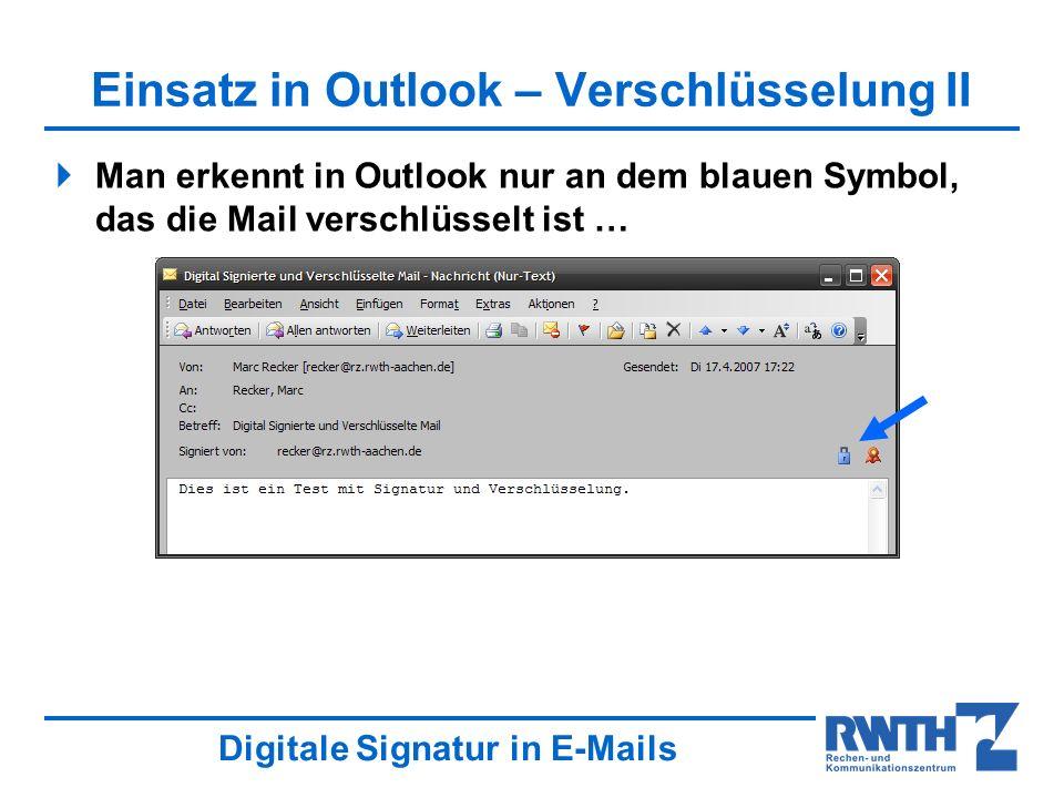 Einsatz in Outlook – Verschlüsselung II