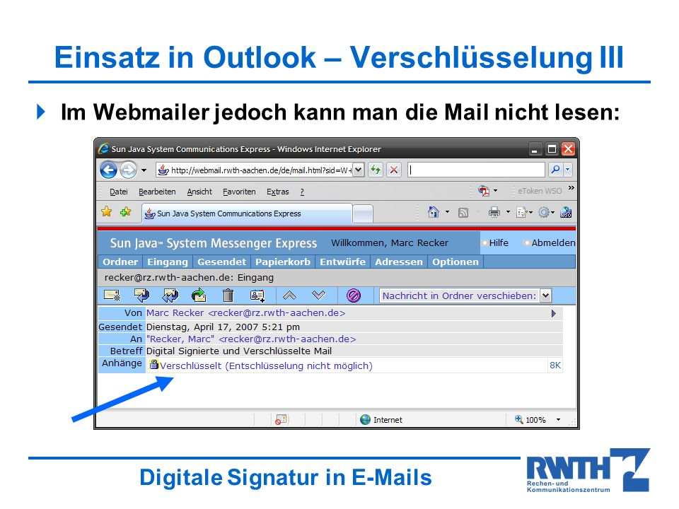 Einsatz in Outlook – Verschlüsselung III