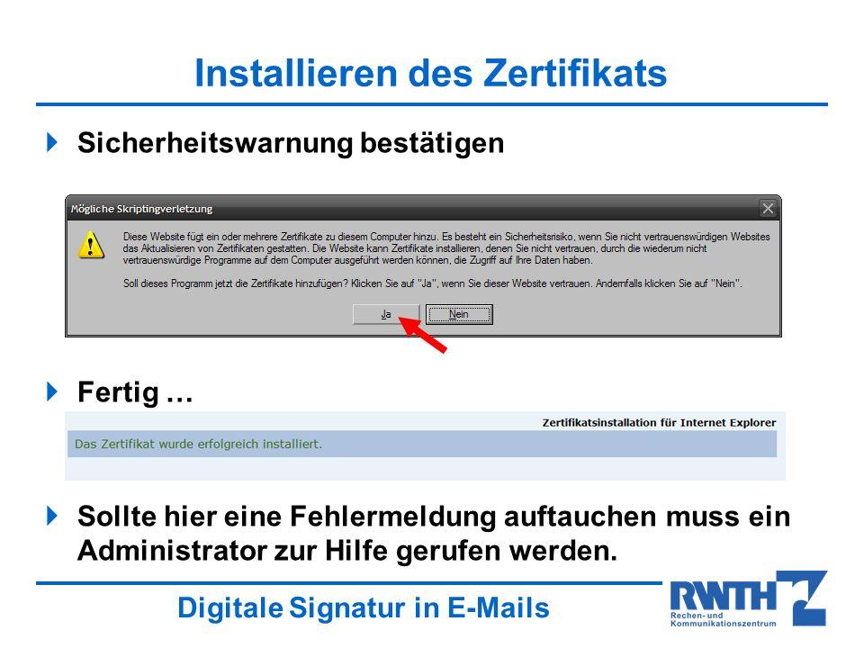Installieren des Zertifikats