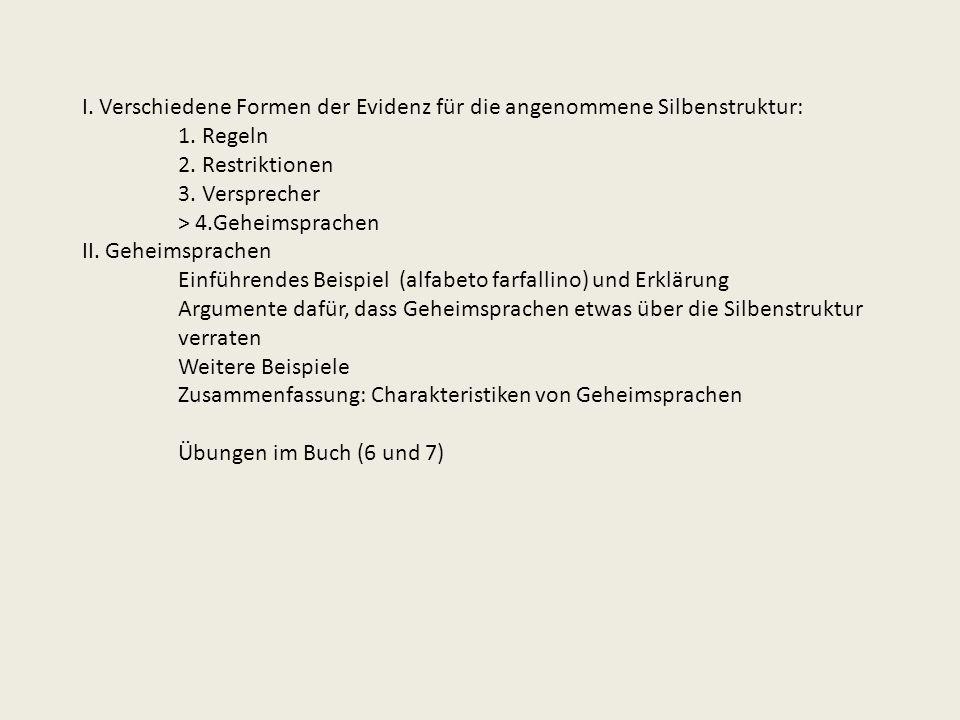 I. Verschiedene Formen der Evidenz für die angenommene Silbenstruktur: