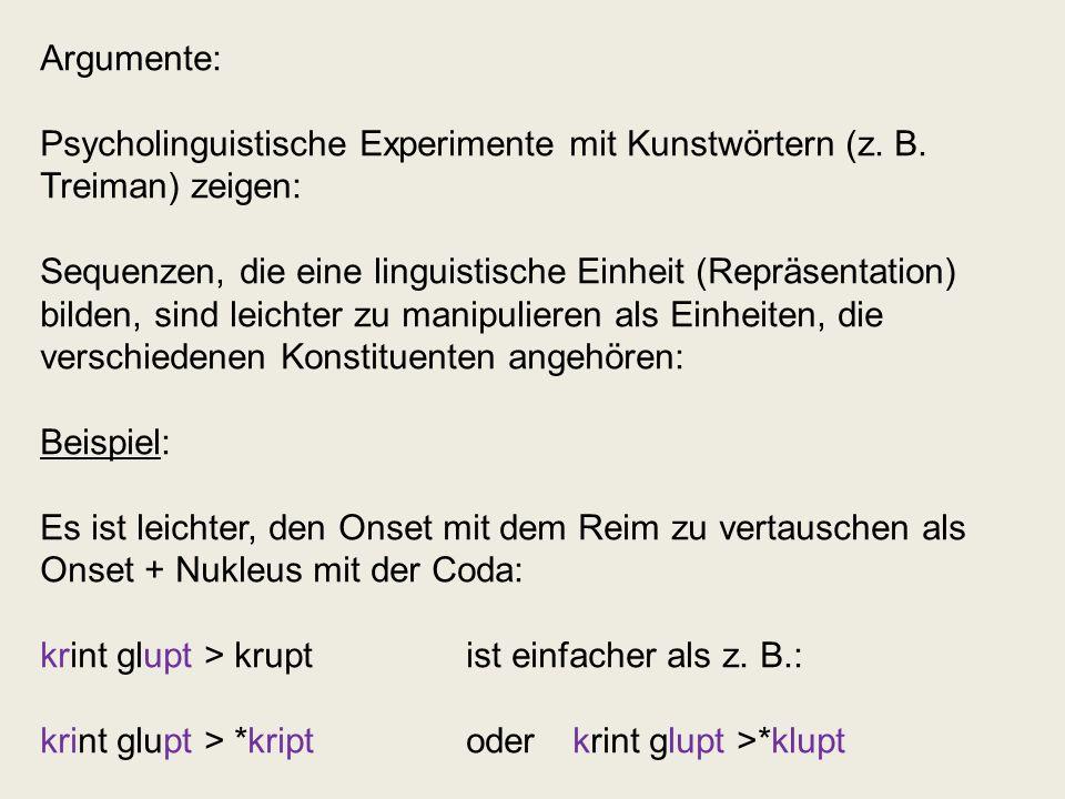 Argumente: Psycholinguistische Experimente mit Kunstwörtern (z. B. Treiman) zeigen: