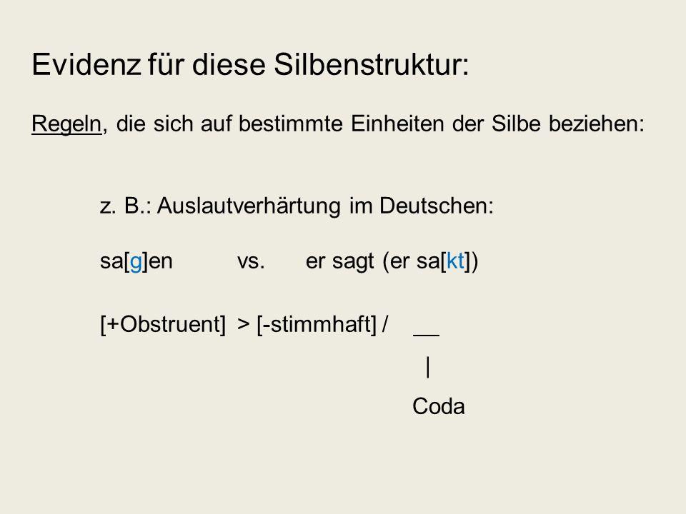 Evidenz für diese Silbenstruktur: