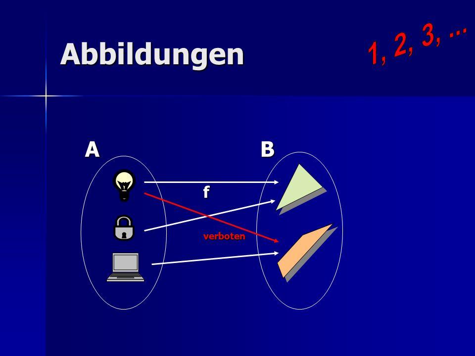 1, 2, 3, ... Abbildungen A B f verboten