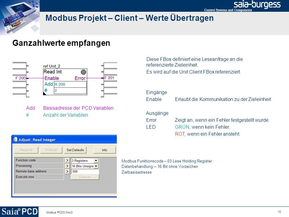 Modbus Projekt – Client – Werte Übertragen