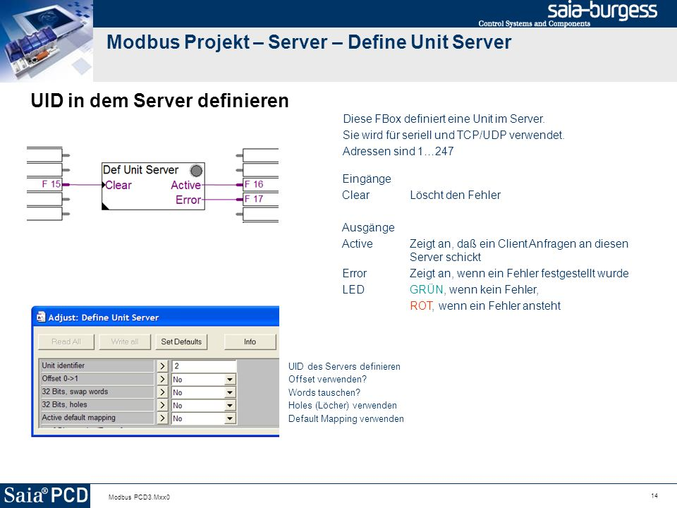 Modbus Projekt – Server – Define Unit Server