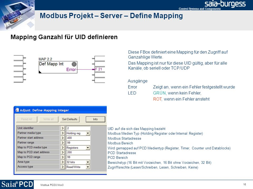 Modbus Projekt – Server – Define Mapping