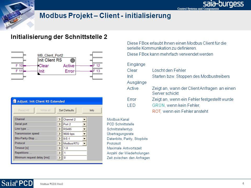 Modbus Projekt – Client - initialisierung