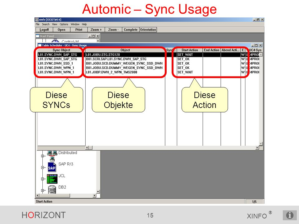Automic – Sync Usage Diese SYNCs Diese Objekte Diese Action