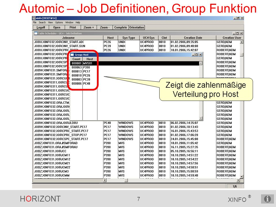 Automic – Job Definitionen, Group Funktion