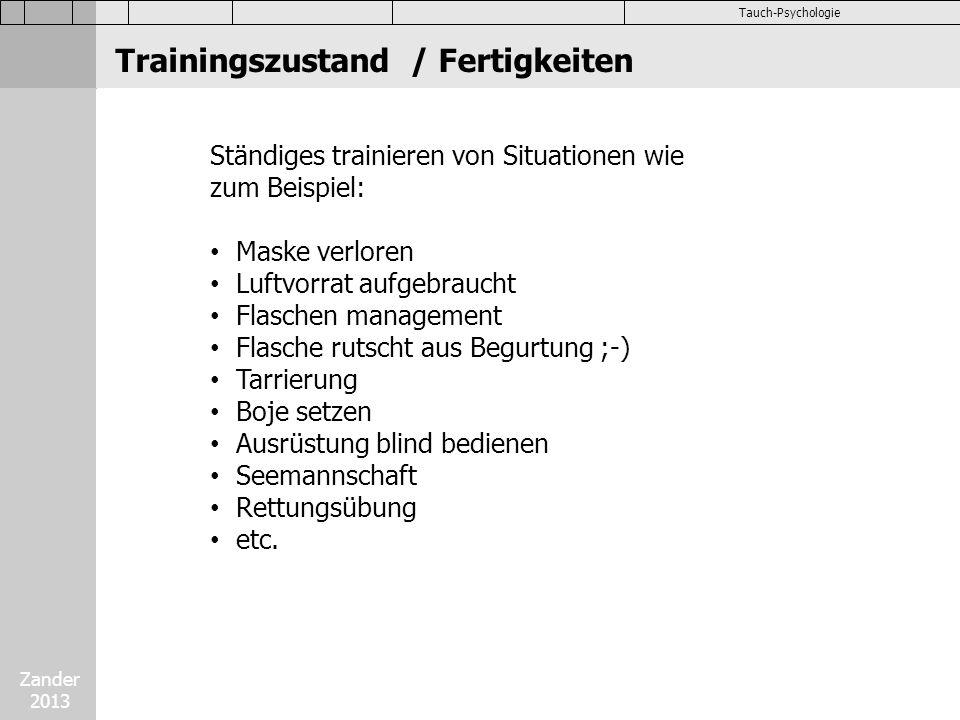 Trainingszustand / Fertigkeiten