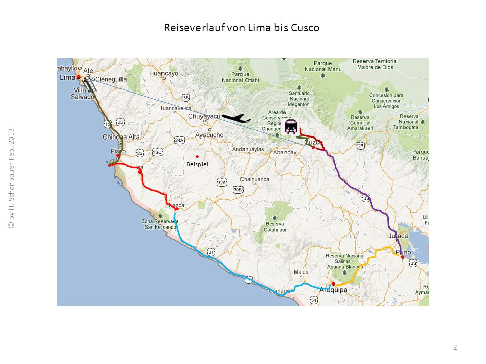 Reiseverlauf von Lima bis Cusco