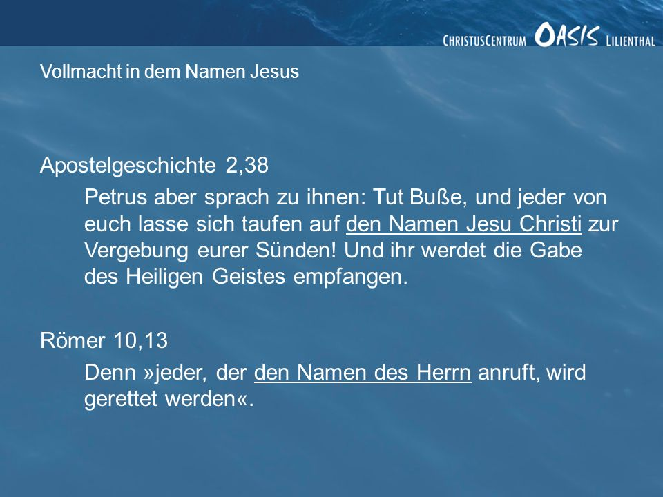 Vollmacht in dem Namen Jesus