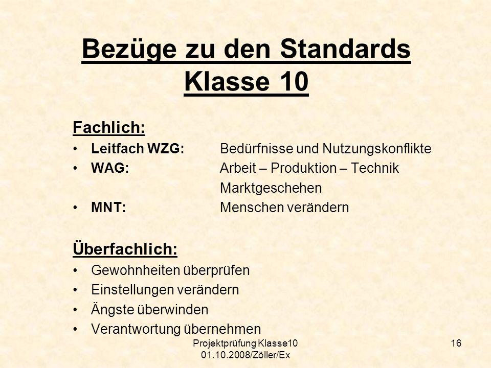Bezüge zu den Standards Klasse 10