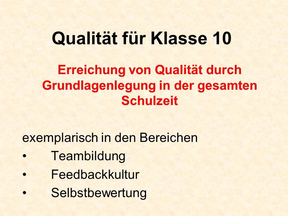 Qualität für Klasse 10 Erreichung von Qualität durch Grundlagenlegung in der gesamten Schulzeit. exemplarisch in den Bereichen.