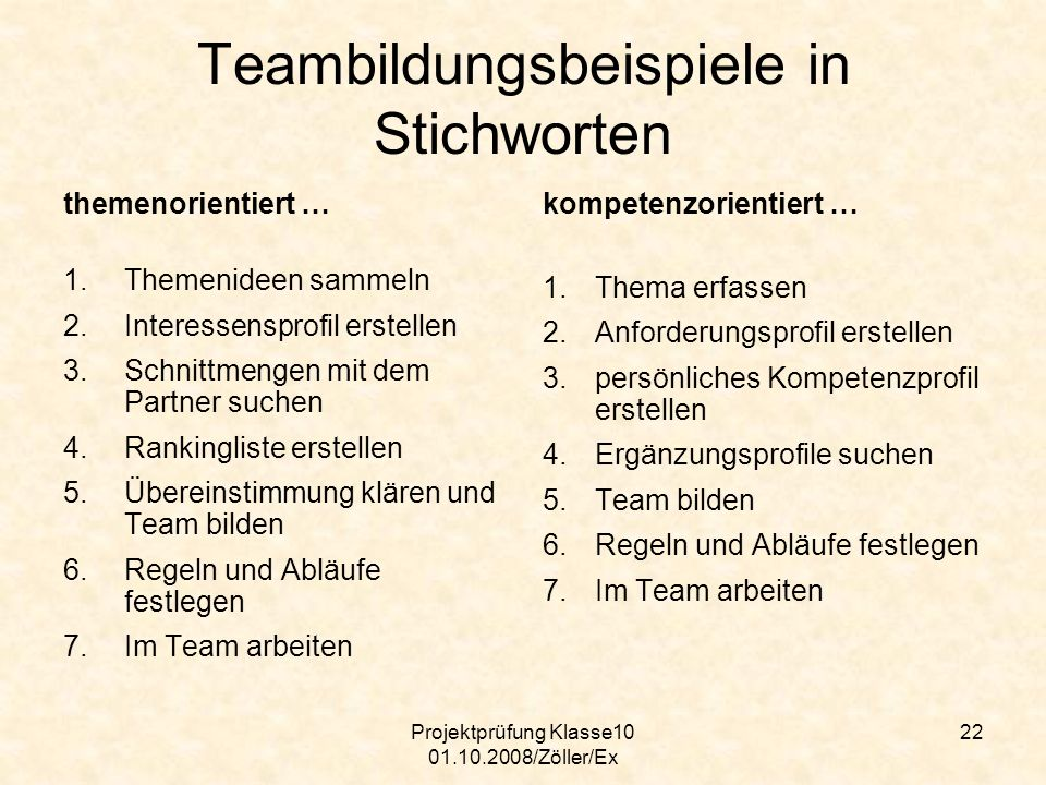 Teambildungsbeispiele in Stichworten