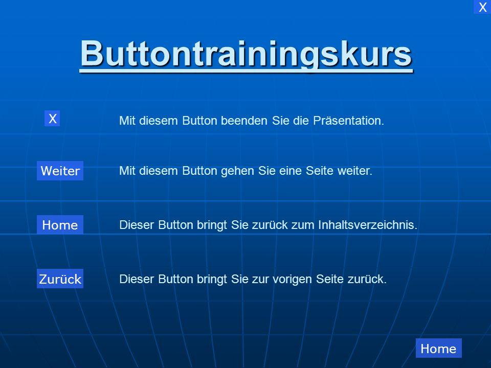 Buttontrainingskurs X Mit diesem Button beenden Sie die Präsentation.
