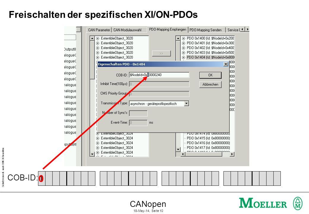 Freischalten der spezifischen XI/ON-PDOs